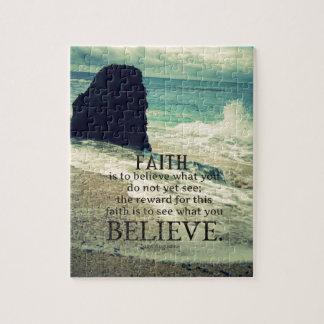 Faith quote beach ocean wave puzzle