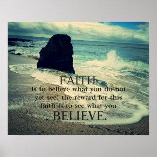 .Faith quote beach ocean waves Poster