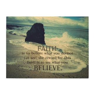 .Faith quote beach ocean waves Wood Wall Art