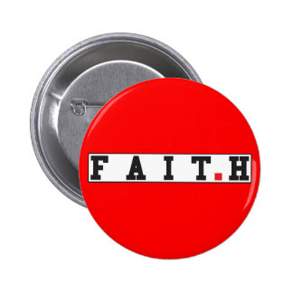 faith text message emotion feeling red dot square 6 cm round badge