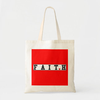 faith text message emotion feeling red dot square budget tote bag