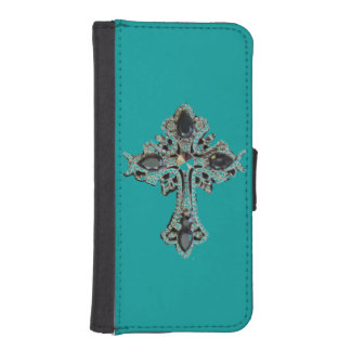 Faith vintage cross design iPhone SE/5/5s wallet case