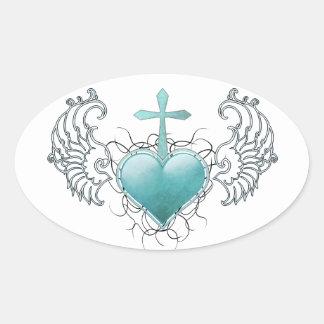 Faithful Crystal Blue Heart Oval Sticker