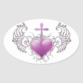 Faithful Crystal purple Heart Oval Sticker