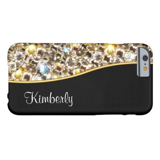 Fake Glitzy Rhinestone Monogram Barely There iPhone 6
