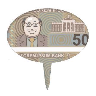 Fake money 50 and 10 cake pick