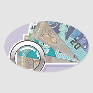 Fake Money Under Magnifying glass Vector Oval Sticker