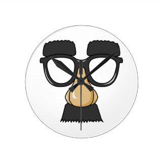 Fake Moustache Face Wallclocks