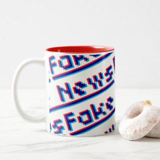 Fake News Header 3D Effect Two-Tone Coffee Mug