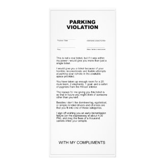 Fake Parking Violation Ticket Rack Card