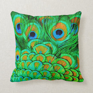 Fake Peacock Feathers Abstract Nature Pattern Throw Pillow