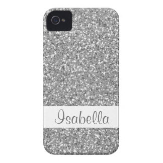 Fake Silver Sparkling Glitter With Name Case-Mate iPhone 4 Case