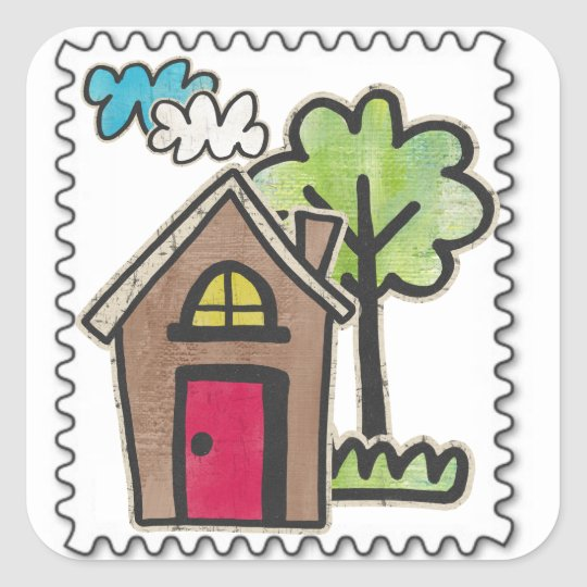 fake stamps square sticker