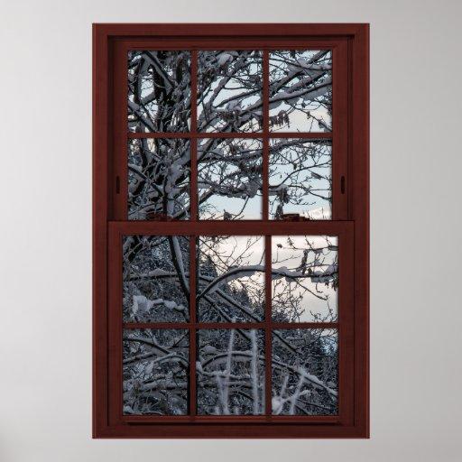 Fake Window - Illusion - Winter Woods View