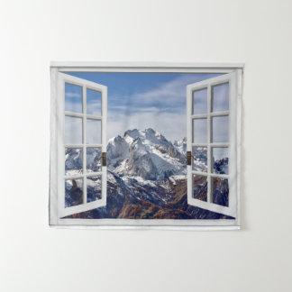 Fake Window Mountain Scene Wall Hanging Tapestry