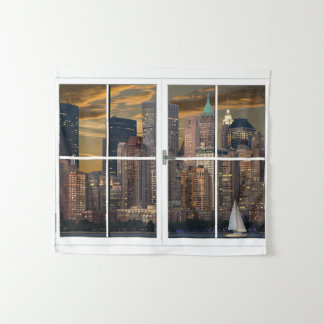 Fake Window New York City Wall Hanging Tapestry