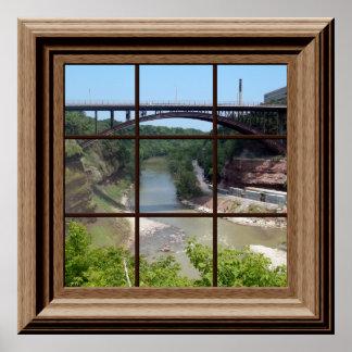 Fake Window Poster River Bridge Relaxing