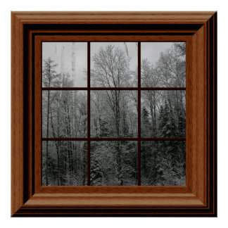 Fake Window Poster Winter Snow Scene Trees Icicles