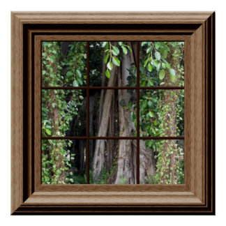 Fake Window Scene Poster View Of Trees Wall Art