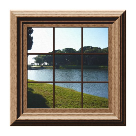 Fake Window View Lake Landscape Canvas Wall Art
