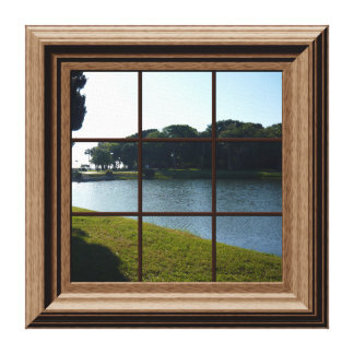 Fake Window View Lake Landscape Canvas Wall Art Gallery Wrapped Canvas
