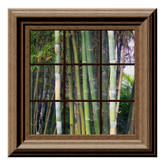 Fake Window View Poster Bamboo Trees Zen