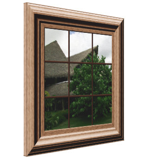 Fake Window View Tropical View Canvas Wall Art Stretched Canvas Print
