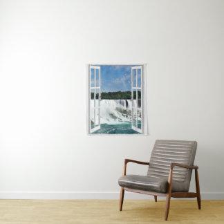 Fake Window Waterfall Wall Hanging Tapestry