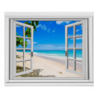 Fake Window With Tropical Beach Ocean View Poster