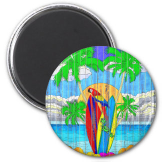 Fake Wood Grain Coastal Surf Art 6 Cm Round Magnet