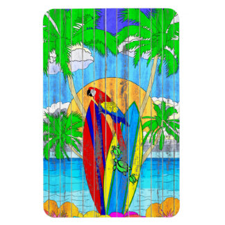 Fake Wood Grain Coastal Surf Art Rectangular Photo Magnet