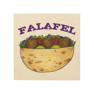 Falafel Pita Mediterranean Food Foodie Kitchen Wood Wall Decor