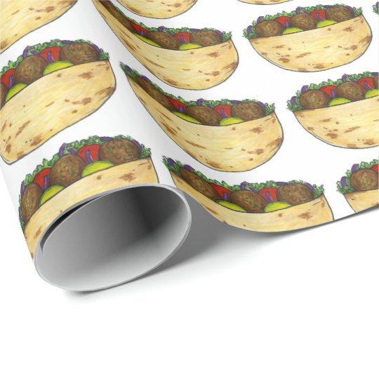 Falafel Pita Sandwich Food Foodie Wrapping Paper