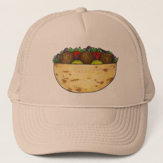 Falafel Pita Sandwich Mediterranean Food Foodie Trucker Hat