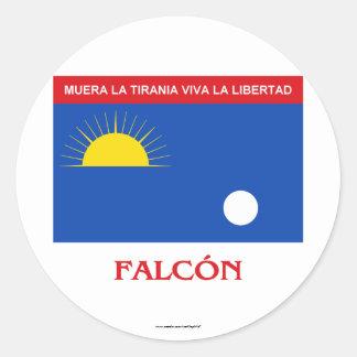 Falcón Flag with Name Round Sticker