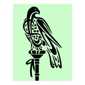 Falcon on Block Perch Postcard