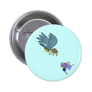 Falcon with goggles 6 cm round badge