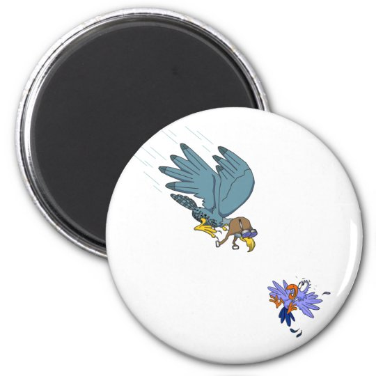 Falcon with goggles 6 cm round magnet