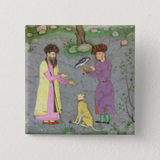 Falconer with companion and pet cheetah, from the 15 cm square badge