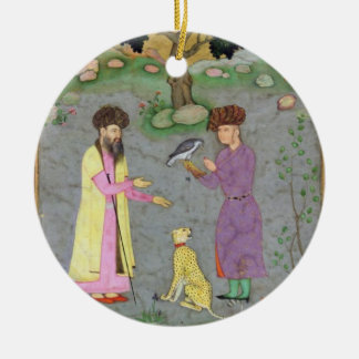 Falconer with companion and pet cheetah, from the christmas ornament