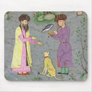 Falconer with companion and pet cheetah, from the mouse mat