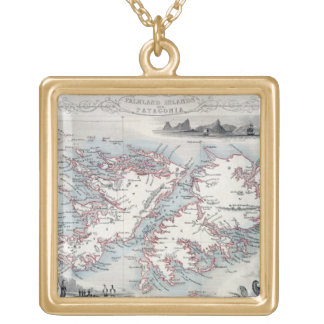 Falkland Islands and Patagonia, from a Series of W Gold Plated Necklace