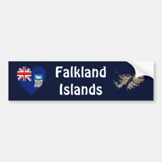 Falkland Islands Flag Heart + Map Bumper Sticker