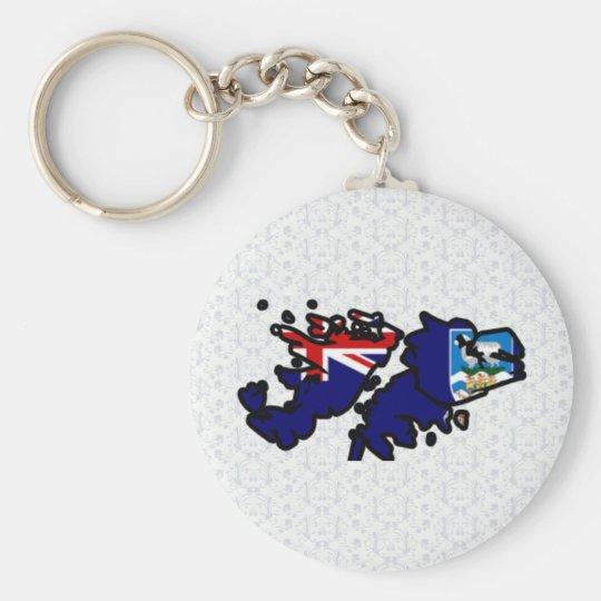 Falkland Islands Flag Map full size Basic Round Button Key Ring