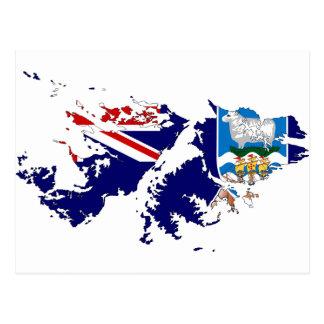 Falkland Islands (Malvinas) Flag Map FK Postcard