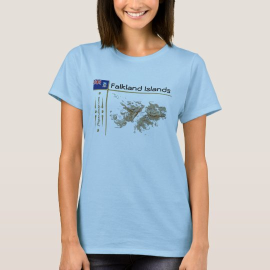 Falkland Islands Map + Flag + Title T-Shirt