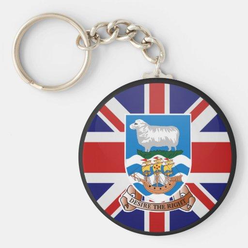Falkland Islands quality Flag Circle Keychain