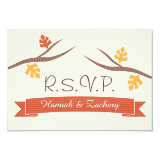 Fall Acorn Wedding Response RSVP Card 9 Cm X 13 Cm Invitation Card