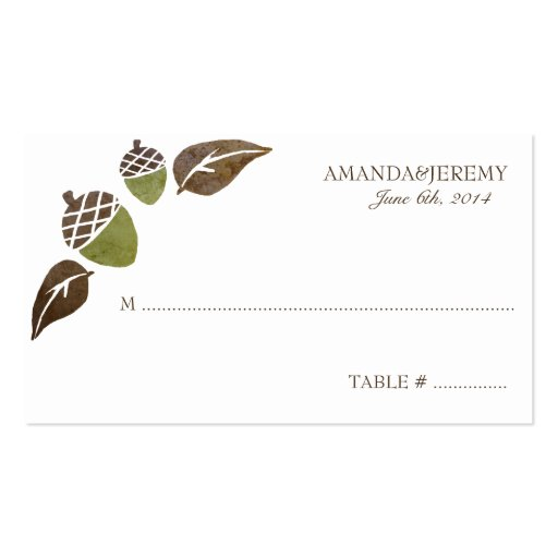 Fall Acorns and Leaves Wedding Business Card Templates