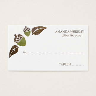 Fall Acorns and Leaves Wedding Business Card